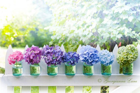 Glass vases on fence